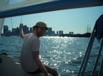 Me sailing in the Harbor from the Piers Park Sailing Center.